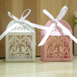 Wholesale Laser Cut Favor Boxes Bird - Laser Cut Hollow Out Love Bird Cages Carriage Favor Holder Wedding Supplies Candy Boxes Chocolate Gift Box with Ribbon