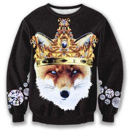 Wholesale Cute Hoody Women - Wholesale-3 color!women men animal sweatshirt print cute king fox crewneck hoodies lion pullover hoody winter coat sport suit white black