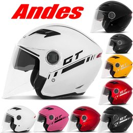 Wholesale Electric Helmets - 2016 New Summer seasons Andes double lenses half face motorcycle helmet ABS electric bicycle helmets men and women FREE SIZE B-639