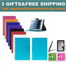 großhandel alcatel fall Rabatt Großhandels-3 Geschenke 7-Zoll-Universal-Tablet-Kasten für Alcatel One Touch T10 / Pixi 7 3G PU-Leder-Kasten 10 Farben geben Verschiffen frei