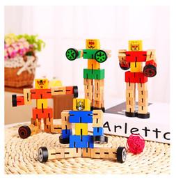 2019 qualidade de brinquedos de fazenda animal Transformação de madeira Robô Blocos de Construção Crianças Brinquedos para Crianças de Aprendizagem Educacional Intelligenchildren's brinquedos educativos frete grátis