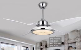 Wholesale pendant lights contemporary - LED ceiling pendant fan light restaurant room pendant fan light Minimalism modern with remote control pendant lights fan 48inch