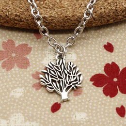 Wholesale Silver Tree Pendants - New Fashion Tibetan Silver pendant world tree 16*20mm Necklace, Round chain DIY Hand made Necklace Jewelry