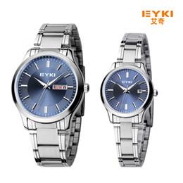 Wholesale Eyki Water - 2017 New Eyki Men Women Business Couple Watch Stainless Steel Wrist Watches Luxury Brand Lovers Watch with Calendar montre femme Bracelet