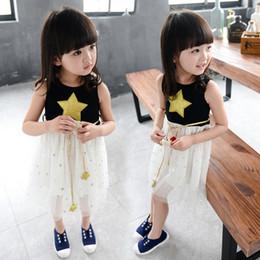 Wholesale Baby Tulle Coat - 2016 Fashion Girls lace tulle Children Summer dress Elegant Sundress Princess Dress Kids Pretty Party baby skirt waist coat star 800014