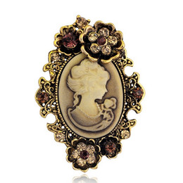 Wholesale Antique Rhinestone Brooches - Vintage Style Antique Gold Silver Plated Crystal Diamante Cameo Brooch
