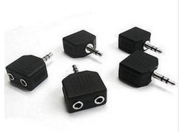 Wholesale Earphones Y Splitter - Black Color 3.5mm Jack 1 to 2 Double Earphone Headphone Y Splitter Cable Cord Adapter Plug for MP3 Phone