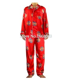 Wholesale Traditional Chinese Men S Shirt - Wholesale-Red Chinese Traditional Men Silk Pajamas Set Pyjamas Suit 2PCS Sleepwear Autumn Winter Bath Gown Size S M L XL XXL XXXL S0044