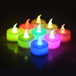Wholesale Tea Light Candle Lamps - Christmas lights Flicker Flameless LED Tealight Tea Candles Light 3.5*4.5cm Wedding Birthday Party Christmas Decoration