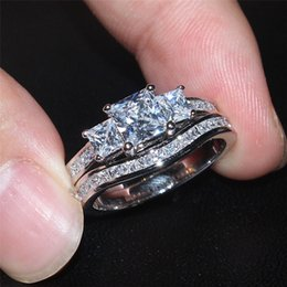Wholesale Fashion Heart Cz Ring - wholesale Fashion Square Three-stone Simulated Diamond cz gemstone Rings Sets Jewelry 10KT white gold filled Wedding rings for women SZ 5-10