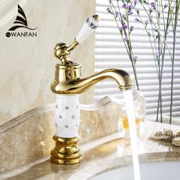 Wholesale Bathroom Vanity Handles - Free Shipping Euro Gold finish Luxury Bathroom Basin Faucet Small Single Handle With Diamond Vanity Sink Mixer Water Tap 58K