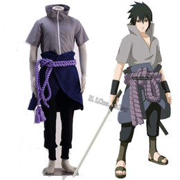 Wholesale Japanese Anime Kids Costume - Brand New Japanese Anime Customized Cosplay Costume for Naruto Uchiha Sasuke Cosplay Japanese Anime Cartoon Character Costumes