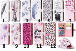 Wholesale 3d Case Iphone Leopard - For iphone X 7 8 Plus 9 Card slots Wallet Pu Leather Case Stand Kickstand 3D Relief Dog Flower Butterfly Tower Leopard Samsung S7 edge S8