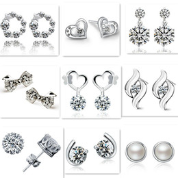 Wholesale 925 Crown Earrings Wholesale - Mix style 925 silver plated earrings natural crystal wholesale fashion jewelry for women heart crown bow stud earrings