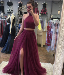 Wholesale Gray One Slit Skirt - Sparky Two Piece Burgundy Prom Dress with Slit High Neck Beaded Sequined Prom Gowns Tulle Skirt A line Party Dresses Evening Wear