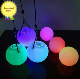 Wholesale Belly Dancer Wholesale - HOT selling! 1PCS Light Up Poi Balls Pair &thrown balls with 7 Color & 9 Function- LED Glow for Rave, women Belly Dancer Prop