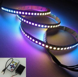 Digital led streifen schwarz pcb online-2 Mt / paket WS2812B Schwarz PCB 144 LEDs / M WS2811 IC Digital 5050 RGB LED Streifen Licht DC5V, nicht wasserdicht + 1 stücke RF controller.