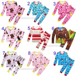 Wholesale Wholesale Winter Girls Clothing - 10 Style children Moana Suits Pajamas Girls boys Cotton cartoon long Sleeve T-shirt+Pants 2pcs sets baby kids clothes B001