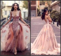 Wholesale Dr Lights - 2017 sexy deep v-neck Arabic Mermaid Evening Dress With Overskirts Jewel lace Appliques Side-Split Backless Prom Dress Tulle Red Carpet Dr