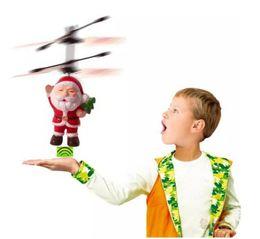 2019 santa piscando Papai Noel LED Piscando Luz Brinquedos Infravermelho Sensor Elétrico Voando Bola RC Helicóptero Quadcopter Zangão Brinquedo Crianças Presentes de Natal desconto santa piscando