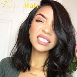 Wholesale light brown wigs sale - cheap sale color #1b black natural wave heat resistant malaysian hair synthetic lace front wig short wigs for black women