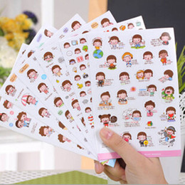 Wholesale Girls Sticker Album - 5set 30pcs lot wholesale cute lovely girls phone calendar book album diary decor paper sticker scrapbooking kawaii stickers free shipping
