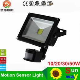 Wholesale Flood Sensors - 10W 20W 30W 50W PIR LED Floodlight Motion detective Sensor Outdoor Landscape LED Flood light lamp waterproof IP65 85-265V Garden light
