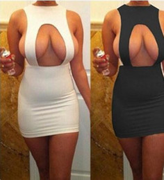 longo vestido de noite de casamento branco Desconto Moda por atacado Nova Moda Elgant Bandage Sexy Night Club Mini Vestidos Frete Grátis Tamanho S M L XL