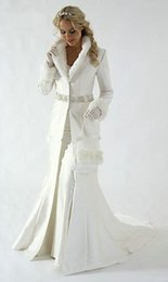 Wholesale Grey Fur Bolero - Winter Bridal Cloak Jacket Long Cape Tippet Stole Shawl Coat Bolero Satin Fabric Custom Made With Faux Fur Sequin Beaded Chapel Train White
