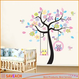 Wholesale Large Tree Wall Mural - Lovely Cartoon Couple Cute Owl Swing Tree Colorful Removable Wall Stickers DIY Wallpaper Mural Kids Children Room Bedroom