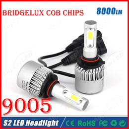 Wholesale Halo Headlamps - 2016 NEW 1 Set S2 9005 HB3 60W 8000LM LED Headlight System Light Kit Bridgelux COB Chips 2 Side All in one Headlamp Driving Bulb Re HID Halo