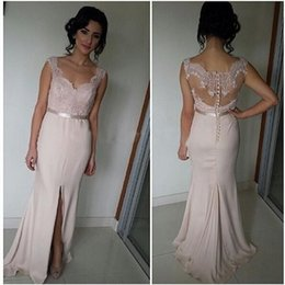 Wholesale Elgant Gowns - 2016 Light Pink Sheer Neck Prom Dresses Mermaid Party Gown Dress V Neck Front Split Chiffon Evening Dress With Lace Sexy Back Elgant Dress