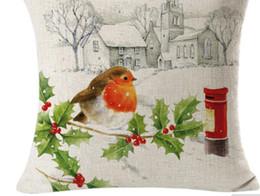 Wholesale Bird Pillows - High Quality 45 x 45cm Cute Bird Christmas Linen Square Throw Flax Pillow Case Decorative Cushion Pillow Cover Happy Xmas Gifts
