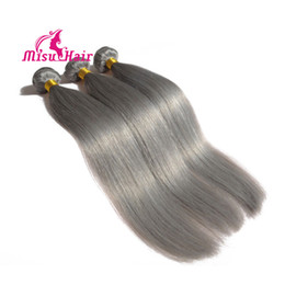 Wholesale Wholesale Gray Weaving Hair - Best Selling 7A Grade Peruvian Human Hair Straight Grey Hair Weave Silver Gray Human Hair Extensions 3 Bundles Weave