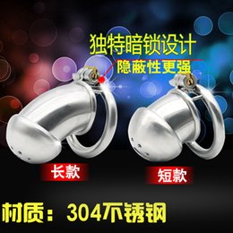 Wholesale Testicle Chastity - New Latest design small cage Stainless steel Male bondage devices shape Sex Toys For Men Testicle Chastity Belt Penis Rings