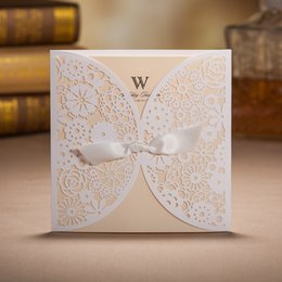 Wholesale Ribbon Wedding Invites - White Lace Laser Cut Wedding Invitations with Bowknot Ribbon Printable Party Birthday Cards Engagement Marriage Baby Shower Invites BH2065