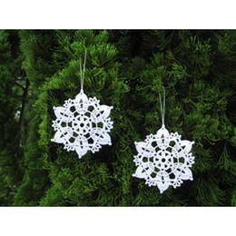 Wholesale set of Lace snowflakes snow white crocheted snowflakes ornaments Christmas decoration white cotton lace snowflakes sd30