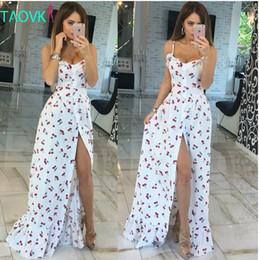 Wholesale print silk maxi dress - 2016 summer women long Cherry printing white empire strapless floor length dresses