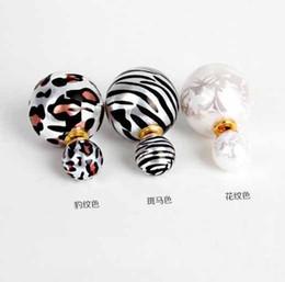 Wholesale White Pearl Zebra - New 2016 Elegant Korea Fashion Leopard & Zebra Stripe & Printing Double Side Imitation Pearl Ear Stud Earrings WE769