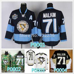Wholesale Penguin Shirts - 2016 Cheap stitched new NHL Pittsburgh Penguins #71 Evgeni Malkin black White  camo ice hockey jersey shirt sportswear