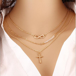 Wholesale Multi Layer Cross Necklace - Multilayer metal necklace measle Collarbone chain fashion accessories Pour eight Cross necklace pendant necklace Multi-layer chain necklace