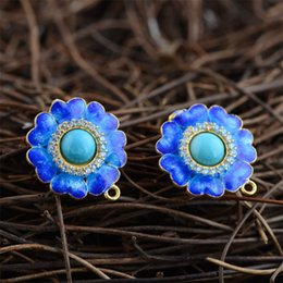 Wholesale Agate Products Wholesale - Snapped Blue S925 sterling silver earrings female models agate earrings new products