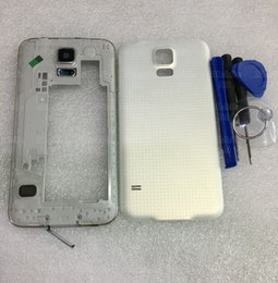 Wholesale Housing Full Case - High Quality Full Housing Middle Frame Bezel+Battery Back Cover Housing Case Chassis Full For Samsung Galaxy S5 SV G900F+Tracking