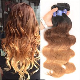 Wholesale Blonde Brown Body Wavy Extensions - Grade 8A Peruvian Hair Body Wave Three Tone 1B#4#27# Ombre Human Hair Extensions 3 Bundles Lot Brown Blonde Ombre Wavy Hair Weaves