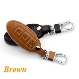 Wholesale Smart Key Covers - Genuine Leather Car Keychain for 2011-2013 2014 2015 Juke 3 Buttons Smart Key Case Cover Key Chain Ring Auto Styling Accessories