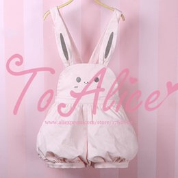 Wholesale Super Cute Bunny - Wholesale-Super Cute Girls Pink Rabbit Bunny Ears Overall Shorts Lolita Dungarees Shartall Rompers Adjustable Length