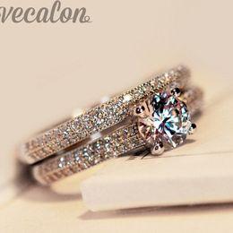Wholesale 1ct Diamond Silver Ring - Vecalon 2016 fashion ring wedding band ring set for women 1ct Cz diamond ring 925 Sterling Silver Female Engagement Finger ring