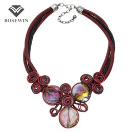 Wholesale Metal Leather Choker Necklace - 4 Colors Handmade Crystal Maxi Necklace Women fashion Accessories Leather Chain Spiral Metal Wire Collar Choker Jewelry CE4147