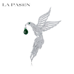 Wholesale Wedding Apparel China - LA PASION New Unique Design Top Quality Micro Paved Tiny Clear CZ Eagle Shape Animal Brooches for Women Wedding Apparel Pins Jewelry