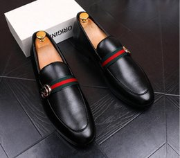 Wholesale wedding smoking - 2018 New Fashion Men's Casual Loafers Genuine Leather Slip-on Dress Shoes Handmade Smoking Slipper Men Flats Wedding Party Shoes US6.5-US10